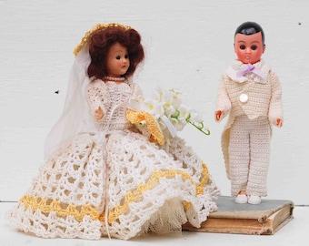 Vintage Bride & Groom DOLLS 1940's Travel Doll PMA Dolls 1950's Wedding