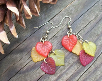 Leaf Peepers Dangle Earrings - Autumn Inspired - Lucite Leaves In Fall Colors
