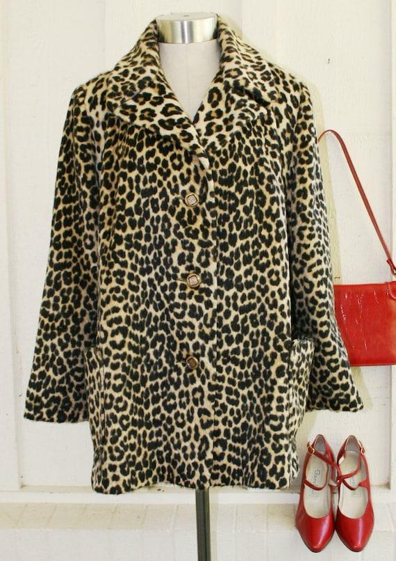 Here Kitty Kitty - Circa 1960's - Faux Fur - Leopard Print Coat - Mod- Mid Century Modern