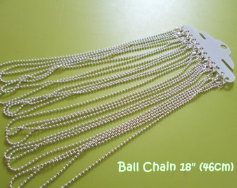 12 Silver Plated Lobster Clasp Ball Chain Necklaces  - 18 inches