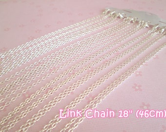 12 Silver Plated Lobster Clasp Link Chain Necklaces  - 18 inches
