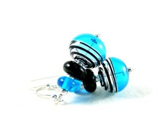 Hollow Bead Earrings, Aqua Blue Black Earrings, Modern Earrings, Blown Glass Earrings, Blue Glass Earrings, Lampwork Earrings, Light Weight