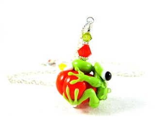 Frog & Pumpkin Necklace, Animal Jewlery, Frog Jewelry, Lampwork Necklace, Fall Autumn Jewelry, Orange Halloween Necklace - Frog and Pumpkin
