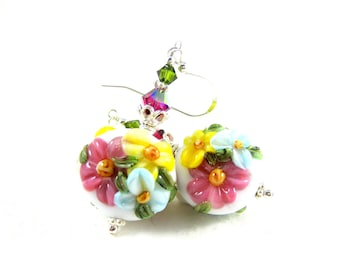 Pastel Floral Earrings, Nature Earrings, Lampwork Earrings, Pink Yellow Blue Earrings, Glass Earrings, Flower Earrings - Blooming Bouquet