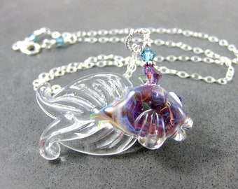 Fish Necklace, Animal Necklace, Fish Jewelry, Lampwork Necklace, Purple Necklace, Boro Necklace, Beach Necklace, Beta Fish Necklace - Wanda
