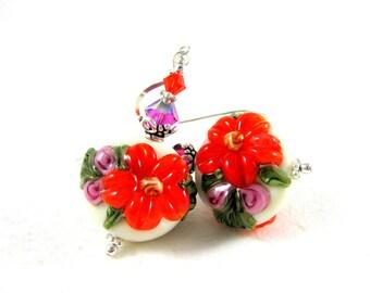 Floral Earrings, Orange & Pink Earrings, Flower Earrings, Lampwork Earrings, Beadwork Earrings, Glass Earrings - Brilliant Mums
