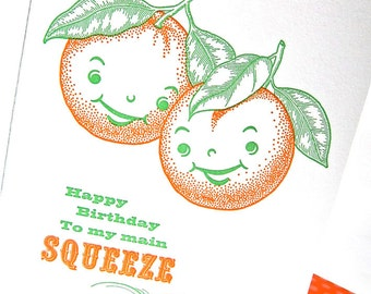 Letterpress birthday card for your Main Squeeze