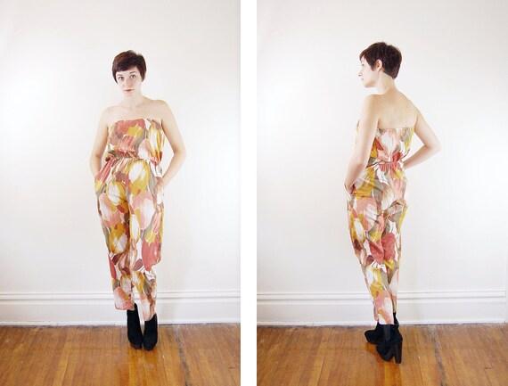 1970s Strapless Tulip Pattern Jumpsuit - S/M