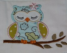 "Embroidered Iron On Applique-  ""Sleeping Owl"""
