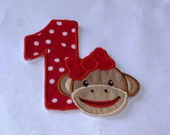 "Birthday Embroidered Iron On Applique  ""Girl Sock Monkey"""