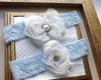 Wedding Garter - Vintage Blue Bridal Garter - Blue Wedding Garter and Toss Garter - Something Blue Wedding Garter Set