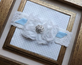 Wedding Garter - Bridal Garter - Vintage Tiffany Blue Bridal Garter - Something Blue Wedding Garter