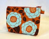 Gadget Pouch Cosmetic Bag Joel Dewberry Fabric Zipper Pouch Makeup Bag Cotton Zip Pouch Bloom Chocolate Brown Rust Orange Aqua Blue MTO