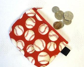 Baseballs Fabric Mini Coin Pouch Little Zipper Change Purse Red White Handmade Boys Coin Purse Zipper Wallet MTO
