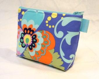 Amy Butler Fabric Gadget Pouch Cosmetic Bag Zipper Pouch Makeup Bag Cotton Zip Pouch Paradise Garden Periwinkle Blue Aqua Coral MTO
