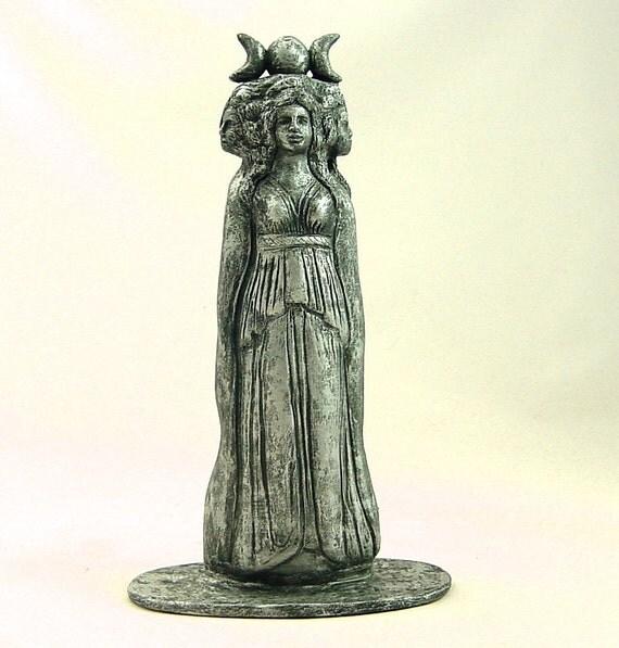 GODDESS HECATE HEKATE Statue Sculpture Handmade Sculpture in Silver