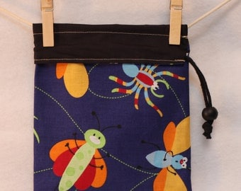 Hostess Gift Bag, Project Bag, Bugs, Blue and Black, Small
