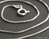 "Sterling Silver Box Chain Necklace (1 mm) - 16"", 18"", 20"", or 24"" Great for charms or pendants / build your own necklace"