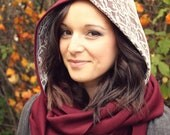 Hooded Scarf-Lace Scarf-Burgundy and Lace