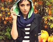 Navy Scarf-Hooded Scarf-Striped Scarf-Blue and Green