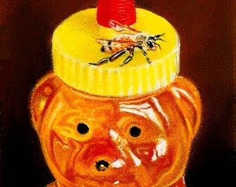 Bee Print Honeybee On Bear Honey Jar by Roby Baer PSA