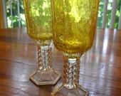 Upcycled Tea Light Holders / Gold Crackle Glass on Crystal Candlesticks