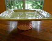 Square Cake Stand in Pink and Green / Dessert Pedestal / Cupcake Stand