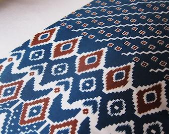 Printed  vintage sari fabric teal, gray and rust