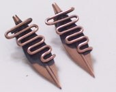 RESERVED Rare Vintage RENOIR Copper Modernist Clip Earrings