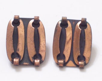 Vintage Copper Modernist Clip Earrings