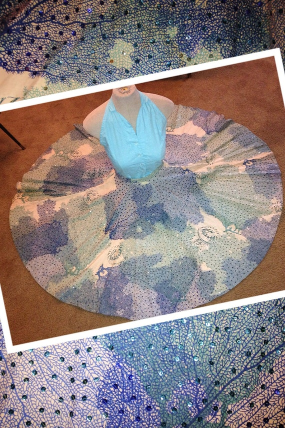 Vintage 1950s Mexican full circle skirt with blue SEQUIN halter top set