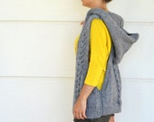 Cable Knit Vest Sweater Vest Hooded Vest Hand Knit Grey Gray