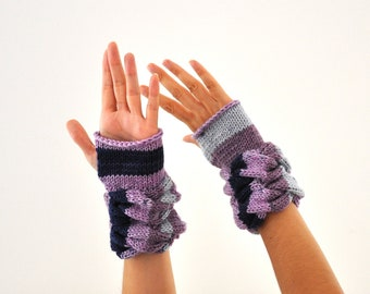Luxurious Knit Gloves Cashmere Fingerless Gloves Wrist Warmers Mittens Purple Shades Plum Amethyst Valentines Day Gift for Her