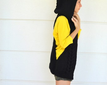 Black Sweater Cardigan Hooded Vest Knit Womens Sweater Warm Cozy Onyx