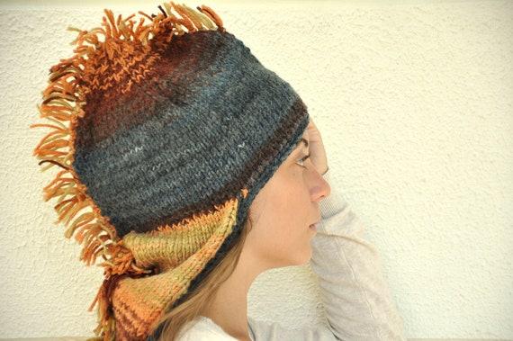 Dragon Hat Adult Hat Hand Knit Blue Brown Orange Yellow Unisex Winter Accessories Winter Fashion Christmas
