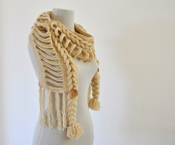 Knitted Scarf Cowl Neckwarmer Braided Hand Knit Cream Ivory Tan Stone with Buttons
