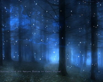 Surreal Nature Photography, Sparkling Blue Woodlands, Sparkle Stars Moon Fairy Lights, Surreal Blue Starry Nature, Woodland Fantasy Nature