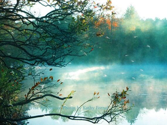 Nature Photography, Dreamy Aqua Teal Fantasy Fairytale Nature, Surreal Aqua Teal Nature Trees, Surreal Aqua Teal Woodlands Landscape Print