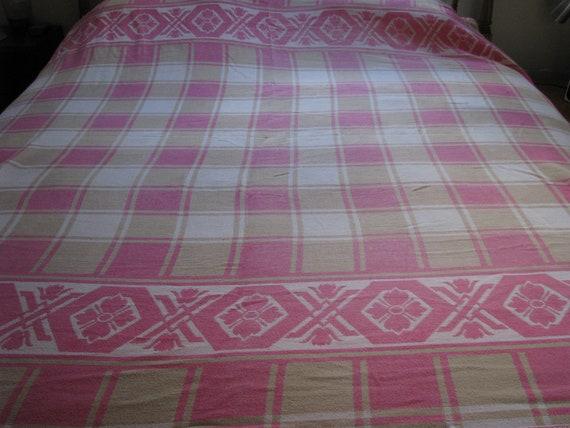 Vintage Cotton Indian Camp Blanket Pink Plaid By Heckamom