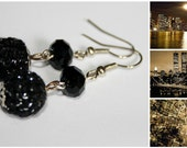 Little black dress -  elegant earrings with hand crocheted and crystal beads