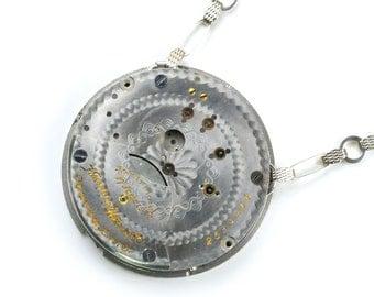 Steampunk 1909 Hampden Pocket Watch Necklace