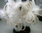 Feather Crystal Floral with Ivory Pearls Veil Headpiece Comb Bridal Wedding Accessories