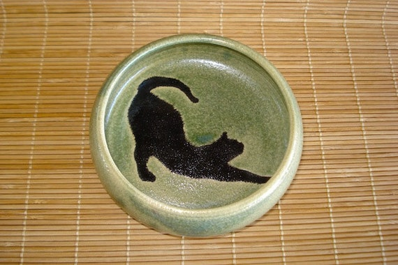 Lovely Sage Green Stoneware Dish with CAT SILHOUETTE