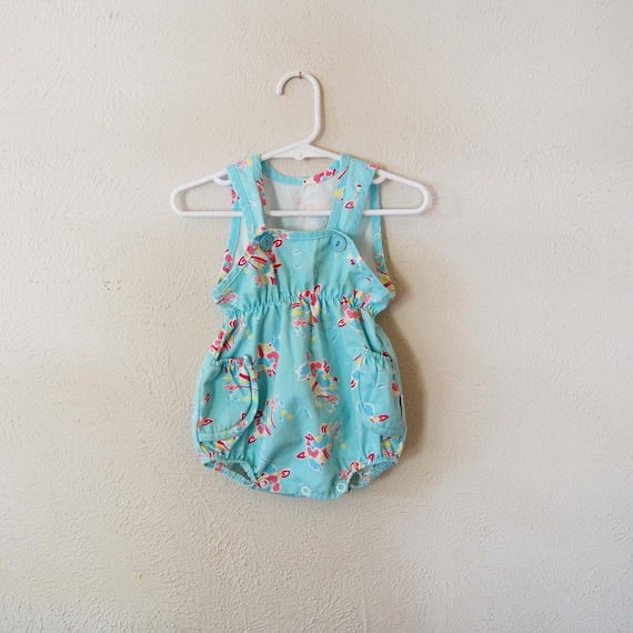 vintage retro girl aqua flower romper