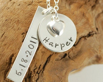 Personalized Necklace, Mommy Necklace, Heart Necklace,  Name Jewelry, Sterling Silver, Hand Stamped Jewelry