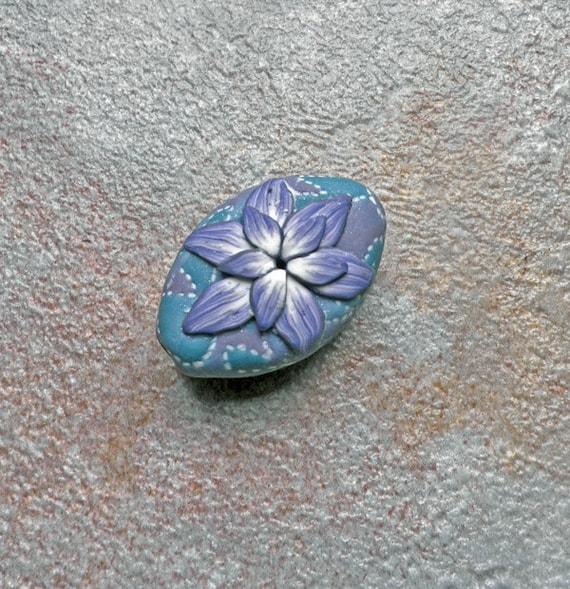 Fallen Flower - polymer clay bead focal bead