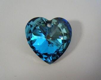 Swarovski Crystal Heart Bermuda Blue Pendant SALE 12 each CLEARANCE
