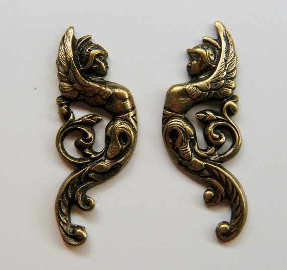 Winged Goddess Warrior Flourishes Antiqued Brass Right and Left Set AS X56 12