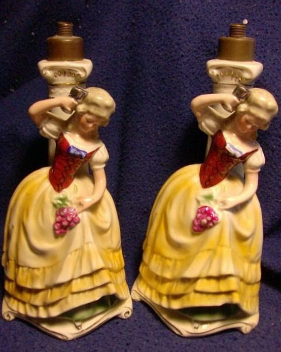 ON HOLD For Ariana Please do not bid Pair of Cottage Chic Vintage German Boudoir Lamps of Lady Figures Grapes Wine Design Shabby Chic Decor