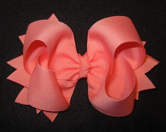 Coral Mango Boutique Hair Bow 2 Layers of Ribbon and Spikes Fun Classic 5 inch Hairbow